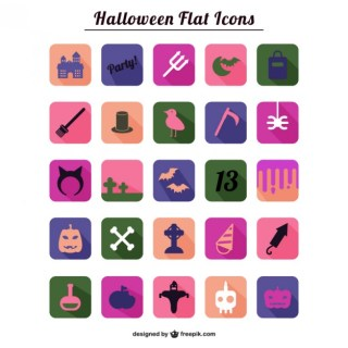 Halloween Flat Icons Collection Free Vector