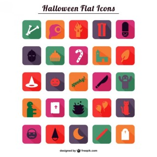 Halloween Flat Icons Pack Free Vector