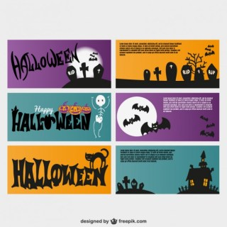 Halloween Invitation Cards Free Vector
