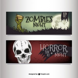Halloween Night Party Banners Free Vector