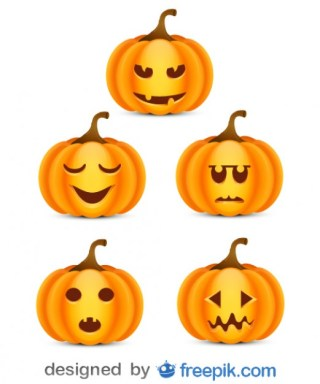 Halloween Pack of Small Scare Pumpkins Free Vector
