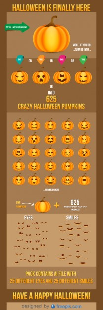 Halloween Pumpkins Smiles and Eyes Free Vector