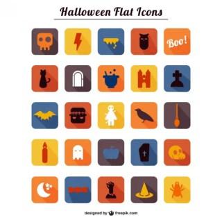 Halloween Theme Flat Icons Free Vector