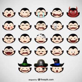 Halloween Vampire Emoticons Pack Free Vector
