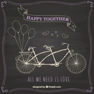 Hand Drawn Bike on Blackboard Free Vector