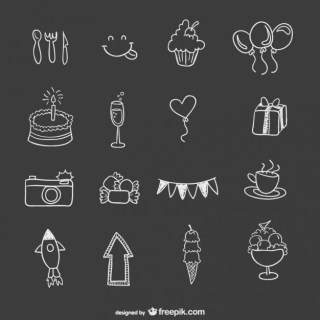 Hand Drawn Birthday Party Elements Free Vector