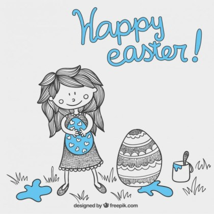 Hand Drawn Easter Card with a Girl Free Vector