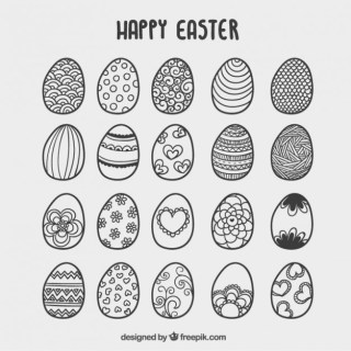 Hand Drawn Easter Eggs Card Free Vector