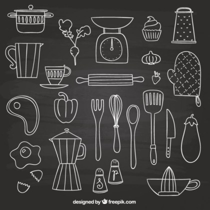 Hand Drawn Elements for Cooking Free Vector