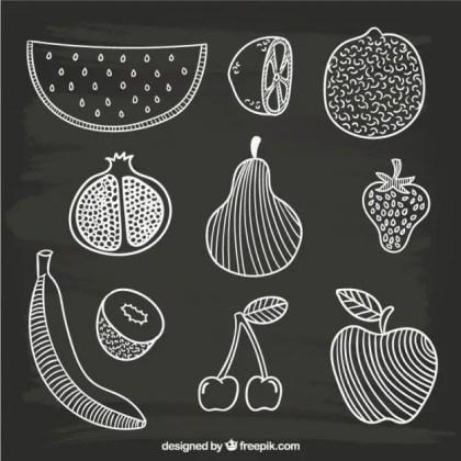 Hand Drawn Fruits Free Vector