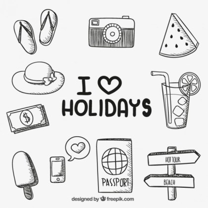 Hand Drawn Holiday Icons Free Vector