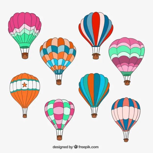 Hand Drawn Hot Air Balloons Free Vector