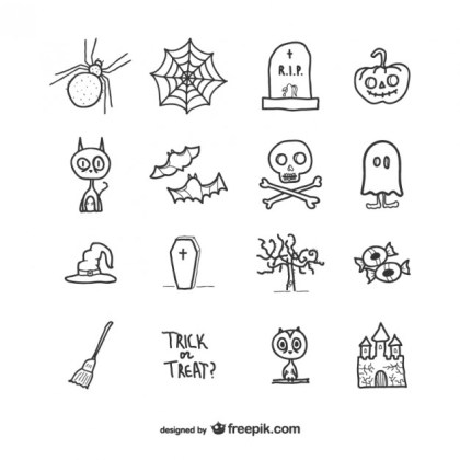 Hand Drawn Icons Pack for Halloween Free Vector
