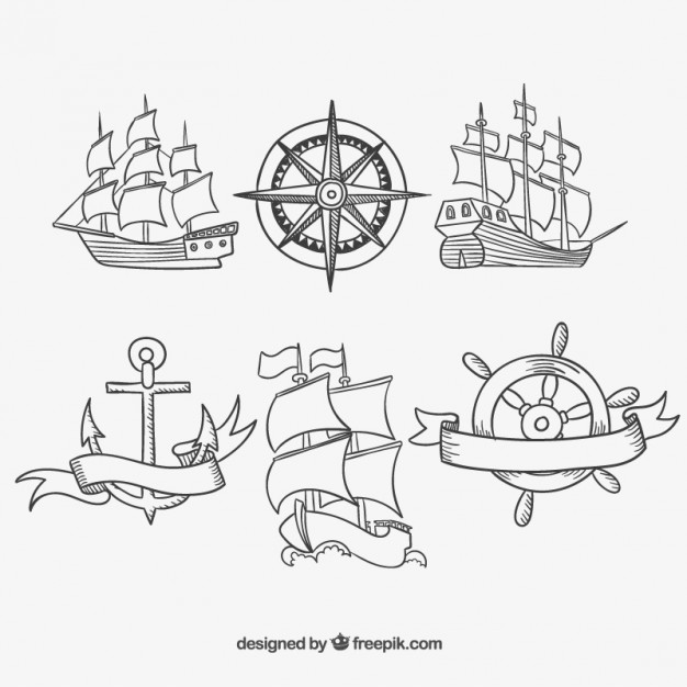 Hand Drawn Old Ships Free Vector