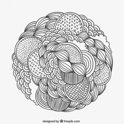 Hand Drawn Patterned Circle Free Vector