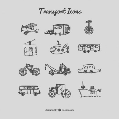Hand Drawn Transport Icons Free Vector