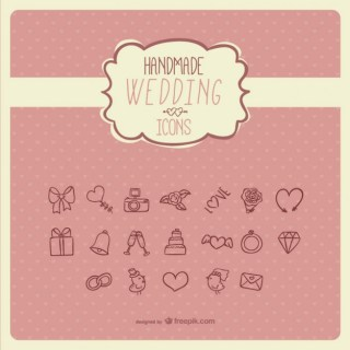 Handmade Wedding Icons Free Vector