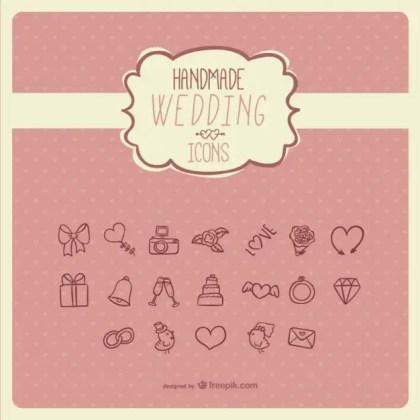Handmade Wedding Icons Free Vector
