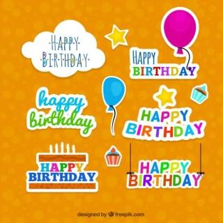 Happy Birthday Badges Free Vector