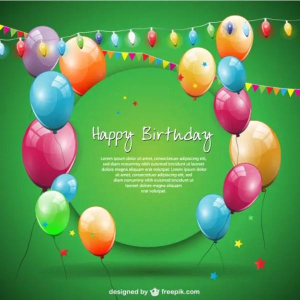 Happy Birthday Balloons Free Card Design Free Vector