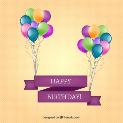 Happy Birthday Banner with Balloons Free Vector