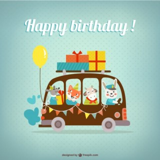 Happy Birthday Card with Animals Free Vector