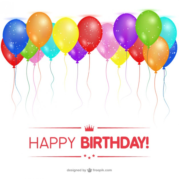 Happy Birthday Card with Balloons Free Vector