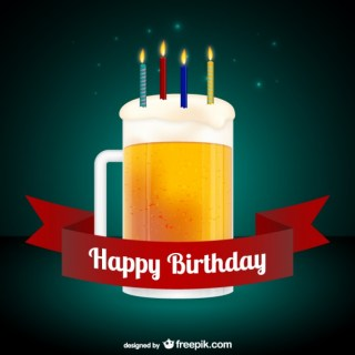 Happy Birthday Card with Beer Free Vector