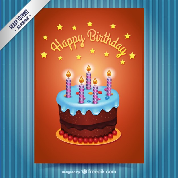 Happy Birthday Card with Cake Free Vector