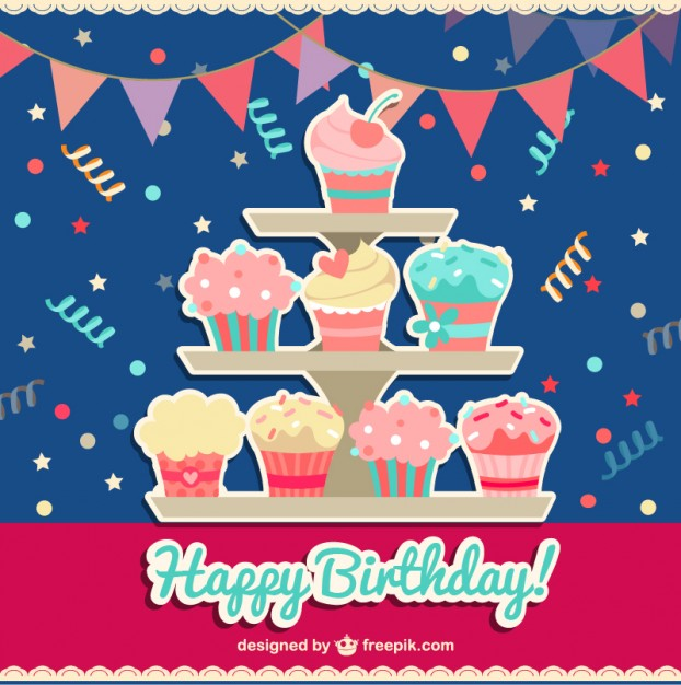 Happy Birthday Card with Cupcakes Free Vector