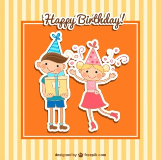 Happy Birthday Card with Kids Free Vector