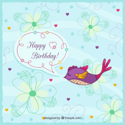 Happy Birthday Greeting Card Free Vector