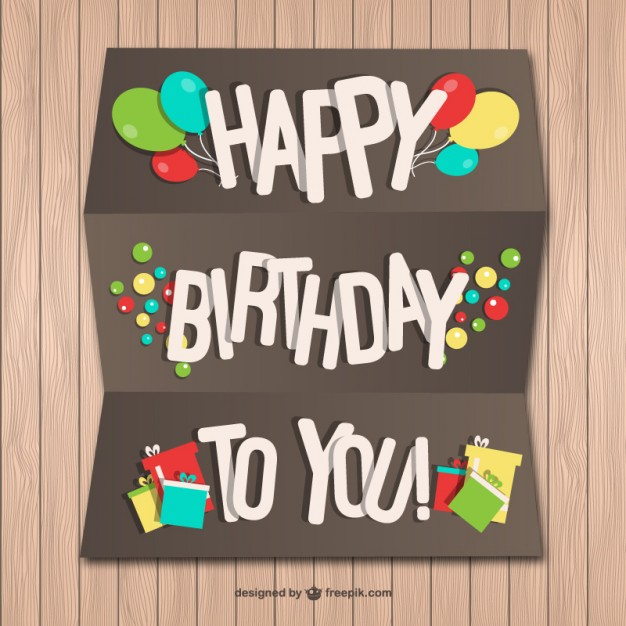 Happy Birthday Paper Card on Wood Wall Free Vector