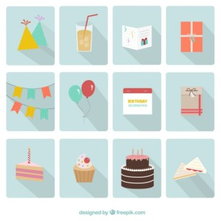 Happy Birthday Party Icons Free Vector