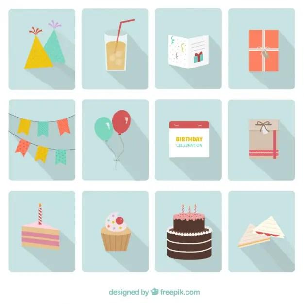 Happy Birthday Party Icons Free Vector