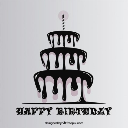 Happy Birthday with Dripping Cake Free Vector