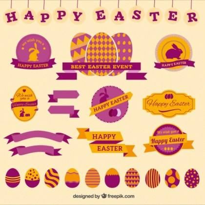 Happy Easter Badges Free Vector