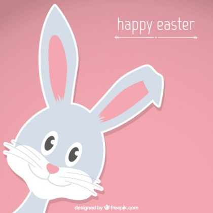 Happy Easter Bunny Card Free Vector