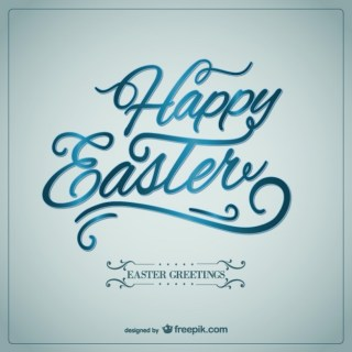 Happy Easter Card in Calligraphic Style Free Vector