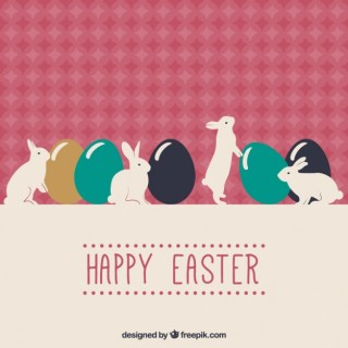 Happy Easter Card with Bunnies Free Vector