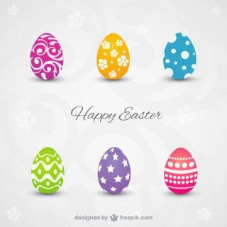 Happy Easter Card with Colorful Eggs Free Vector