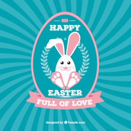 Happy Easter Card with Cute Bunny Free Vector