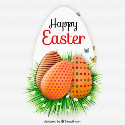 Happy Easter Card with Decorated Eggs Free Vector