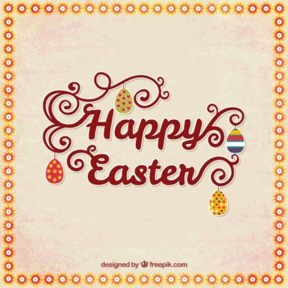 Happy Easter Card with Lettering Free Vector