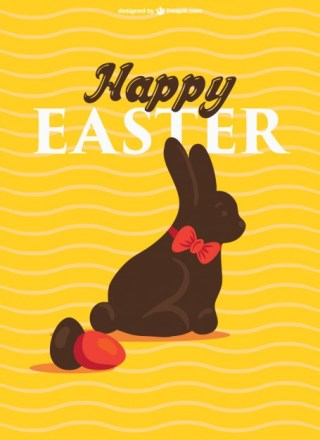 Happy Easter Chocolate Bunny Free Vector
