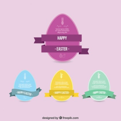 Happy Easter Eggs Collection Free Vector