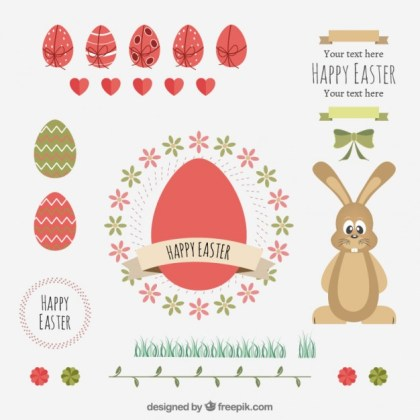 Happy Easter Elements Free Vector