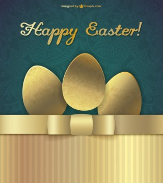 Happy Easter Golden Design Free Vector
