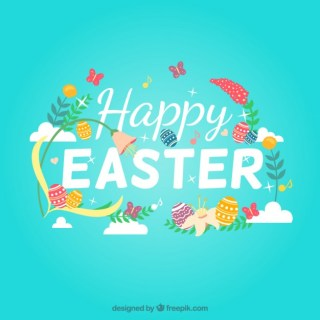 Happy Easter with Flowers and Decorated Eggs Free Vector