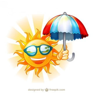 Happy Sun with Sunglasses and Umbrella Cartoon Illustration Free Vector